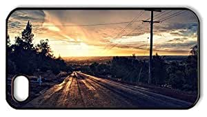 Hipster cheap iPhone 4 case road sundown landscape PC Black for Apple iPhone 4/4S