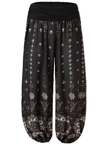 BaiShengGT Yoga Pants for Women, Women's Floral Print Elastic Waist Harem Pants X-Large Black-Floral #2