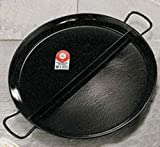 Enameled Steel Paellera with two compartments. 23'' Servings 19