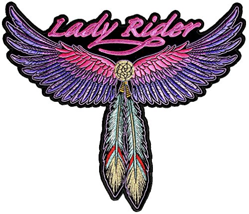 Leather Supreme Lady Rider Wings, Feathers Embroidered Biker ()