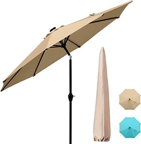 Quictent 9Ft 240G Patio Umbrella Outdoor Garden Table Canopy Market Umbrella Deck Pool Backyard