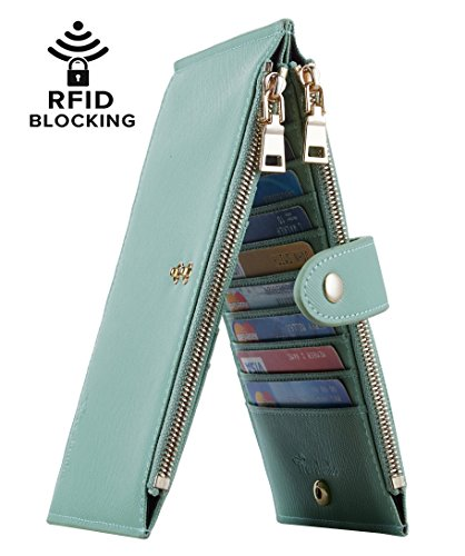 Travelambo Womens Walllet RFID Blocking Bifold Multi Card Case Wallet with Zipper Pocket (CH Green Light 7247)
