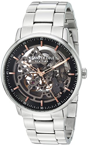 Kenneth Cole New York Men's 'Auto' Automatic Stainless Steel and Leather Dress Watch, Color:Black (Model: KC15104002)