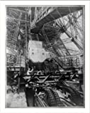 Historic Print (M): [Eiffel Tower machinery with man beside wheel that raises elevator(?), during Paris Expo