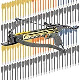 KingsArchery Crossbow Self-Cocking 80 LBS with Adjustable Sights, 3 Aluminium Arrow Bolts, and Bonus 120-pack of Colored PVC Arrow Bolts Warranty
