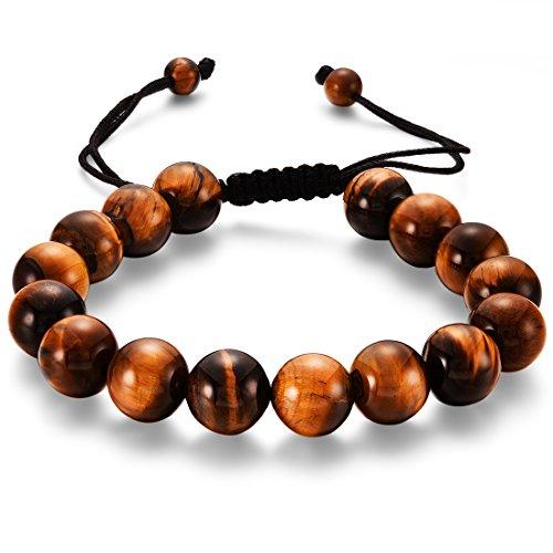 CAT EYE JEWELS Balck String Tiger Eye Beads Bracelets, Natural AA 10mm Yoga Prayer Mala Beads Macrame Adjustable Stretch Bracelet for Men H008