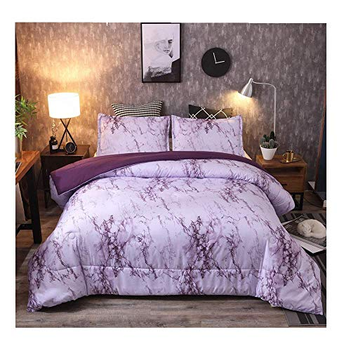 iSkylie Bedding Duvet Cover Pillowcase 3Pcs Set Marble Comforter Quilt Cover with Zipper Closure Premium Bedding Collection Cover Three-Piece Suit (Purple, ()