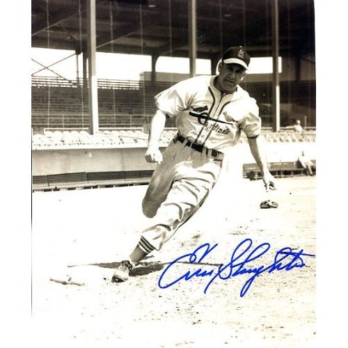 (Enos Slaughter (dec. Hall of Famer) Autographed/ Original Signed 8x10 Action-photo w/ the St. Louis Cardinals)