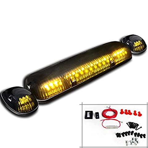 3 Pc. Set Smoked Lens Yellow Amber Led Cab Roof Top Running Lights