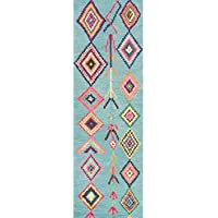 Runner Rug/ Rugs Contemporary, Classic Style Handmade Wool/ Viscose Moroccan Triangle Turquoise Geometric Runner Rug (26 x 8) MJSM18C-2608