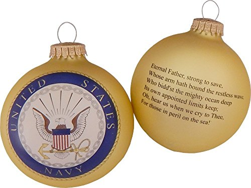 BK80426 Made in the USA Military Logo & Hymn Christmas Ball Ornament, 3.25-Inch, Navy ()