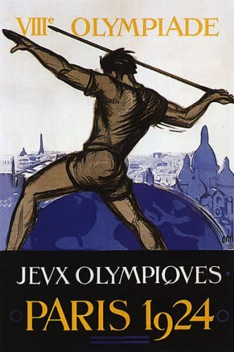 Vintage Olympic games Reproduction poster Paris 1924 Wall art.