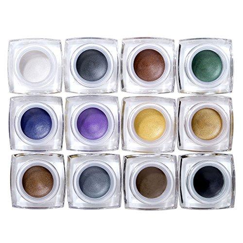 CCbeauty 12 Colors Waterproof Long Lasting Glitter Eyeshadow Cream, Mulfunctional-Shimmer Eyeshadow, Eyeline,Blush,Highlight Make up Set