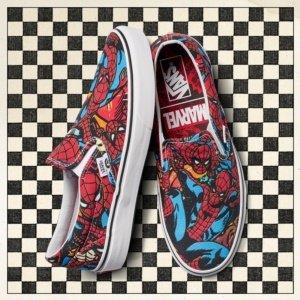 Vans Classic Slip-On (Marvel) Spider-Man/Black VN0A38F79H7 Mens 9, Womens 10.5  -