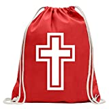 KIWISTAR - Church cross God Fun backpack sports bag fitness Gymbag shopping cotton with drawstring