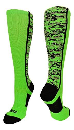 TCK Sports Digital Camo Over The Calf Socks (Neon Green/Black, Medium)