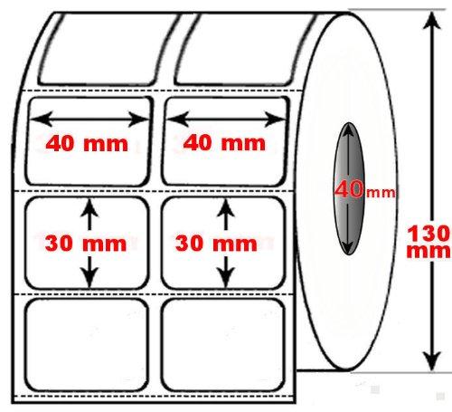 DIMATICA - Rotolo Da 5000 Etichette Adesive Mm 40X30 Termiche 2 Piste Anima 40