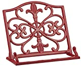cast iron cookbook stand - Home Basics Cast Iron Fleur De Lis Cookbook Stand, Red