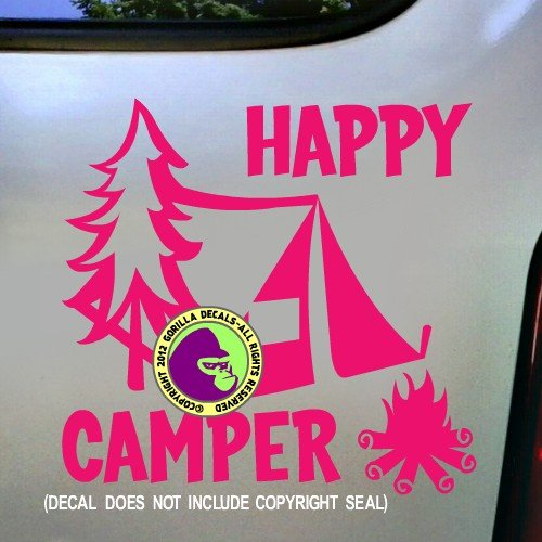 The Gorilla Farm HAPPY CAMPER Camping Hiking Hiker Tent Thru Wilderness Backpacker Vinyl Decal Bumper Sticker Car Window Laptop Wall Sign PINK