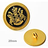 Metal Lion Crest Blazer Button with Shank 13/16'' Gold/Black by 2pcs T-1953
