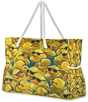 ビーチバッグ ビーチトートバッグ 黄色いアヒル プールバッグ ショッピング 軽量 旅行 アウトドア 大容量 トイレタリー 手提げバッグ ピクニック 水泳バッグ 海水浴 温泉 ポケット付き リゾート