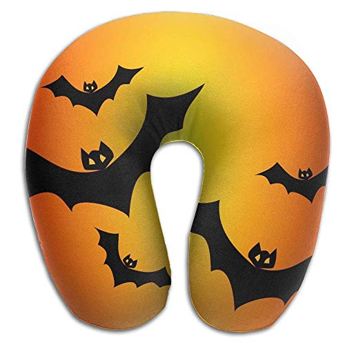 HAIGORO Eco-Friendly Breathing Fabrics Neck Pillow with Resilient Material Bats and Orange Halloween U Shaped Pillow Neck Pillow Slow - Rebound Memory Cotton Relieve Fatigue