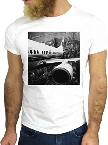 T SHIRT JODE Z2366 COOL PLANE TAKE OFF NEW YORK ENGINE POWER VINTAGE HIPSTER GGG24 BIANCA - WHITE S