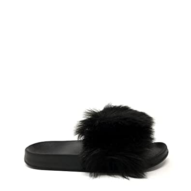 4da6c03fdc571a Miss Diva Ella Ladies Women Flat Slip On Fluffy Open Toe Slider Mule Sandal  3 Black