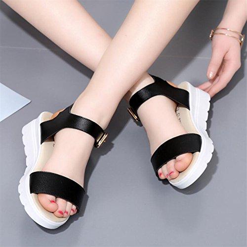 Verano simple flat con open toe sandalias hembra Negro