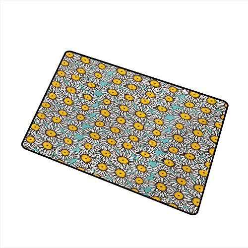 (duommhome Front Door Mat Large Outdoor Indoor Yellow and White Sketch Style Daisy Bouquet on Abstract Romantic Illustration W16 xL20 All Season)