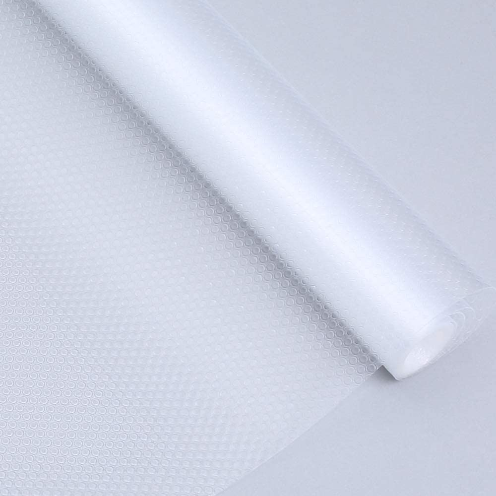 Bloss Plastic Shelf Liners Cabinet Drawer Liner Non-Slip Shelf Liner Non-Adhesive Refrigerator Mat Cupboard Pad No Odor for Kitchen Home-Clear 17.7 ×177 Inch/45×450CM