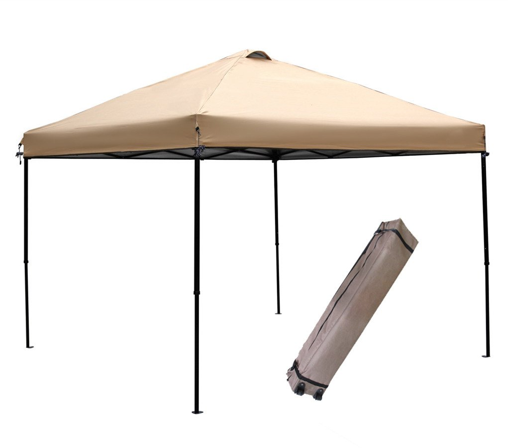 Abba Patio 10 x 10-Feet Outdoor Pop Up Portable Shade Instant Folding Canopy with Roller Bag, Tan