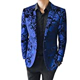 MAGE MALE Men's Dress Party Floral Suit Jacket Notched Lapel Slim Fit Two Button Stylish Blazer