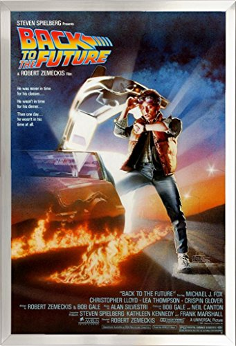 Framed Back to The Future - Michael J Fox 24x36 Poster in Real Wood Brushed Nickel Finish Crafted in USA