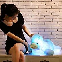 YunNasi 27.5 inch Supper Cute Sea animal Little Stuffed Toys - Sparkling lion plushies with LED Light (Blue)