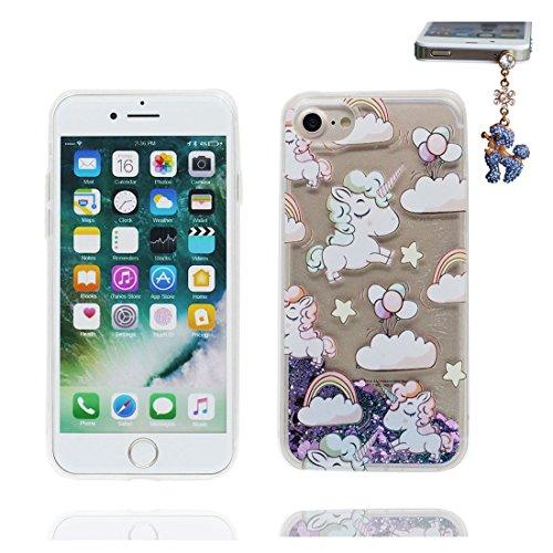 iPhone 7 Coque, Cover étui pour iPhone 7 4.7 pouces, Bling Glitter Fluide Liquide Sparkles Flowing Brillante, iPhone 7 Case anti-chocs Licorne cheval et Bouchon anti-poussière