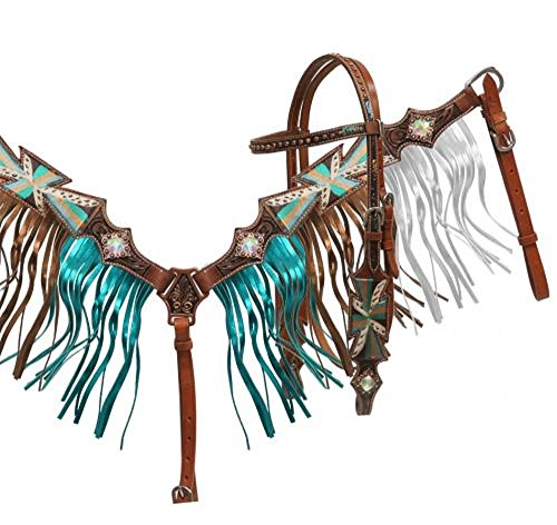 Showman Teal White Painted Cross Iridescent Crystal Rhinestone Conchos Headstall Breast Collar Set Metallic Fringe ()