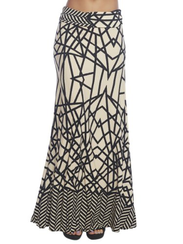 Arden B. Women's Geometric Print Foldover Maxi Skirt M Black/Natural