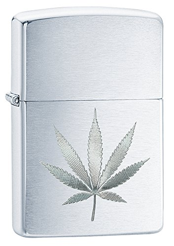Zippo-Brushed-Chrome-Marijuana-Leaf-Pocket-Lighter