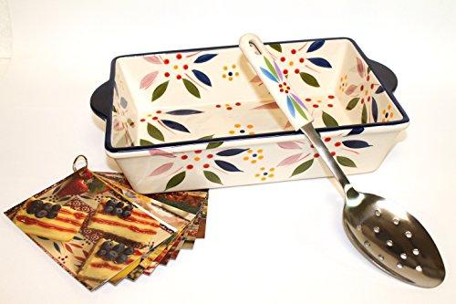Temp-tations 11 inchx7 inch 2.5 Quart Baker & Server w/ Recipes (Vivid Old World Confetti)