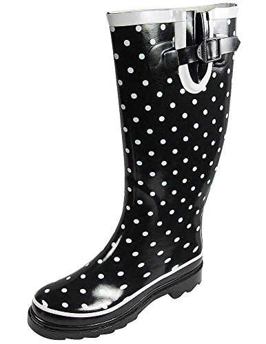 - Sunville Women's Ditsy Dots Rubber Rainboot and Gardenboot, Black with Small White Dots, US Women's 10 B(M)