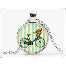 Vintage bicycle Pendant,Necklace. Vintage bike flowers jewelry,Dome glass jewelry, pure handmade