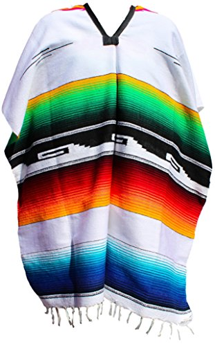 [Native Colorful Mexican Ponchos Adult Size (Assorted Colors) (White)] (Pancho Villa Costumes)