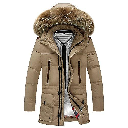 Khaki Coat DYF Long Sleeves FYM Thickened Jacket Length Zipper Collar Medium Down JACKETS 4SExEq7U