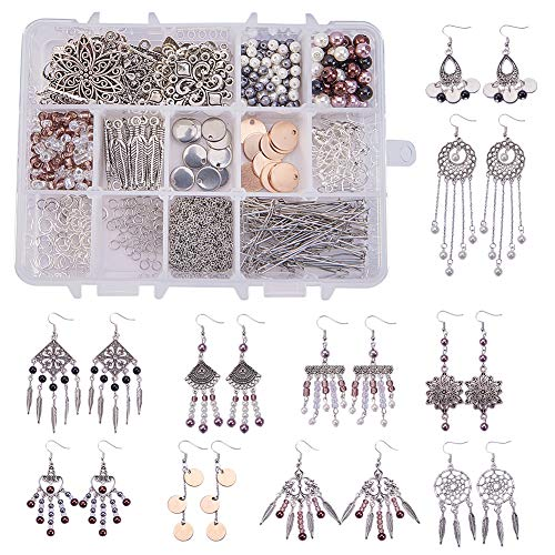 SUNNYCLUE 1 Box DIY 10 Pairs Chandelier Bohemian Earring Making Starter Kit-Chandelier Earring Connector Charm Findings Nickel Free, Assorted Beads, Earring Hooks Jewelry Making Supplie Kit, Style ()