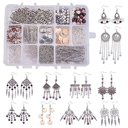 (SUNNYCLUE 1 Box DIY 10 Pairs Chandelier Bohemian Earring Making Starter Kit-Chandelier Earring Connector Charm Findings Nickel Free, Assorted Beads, Earring Hooks Jewelry Making Supplie Kit, Style 1)