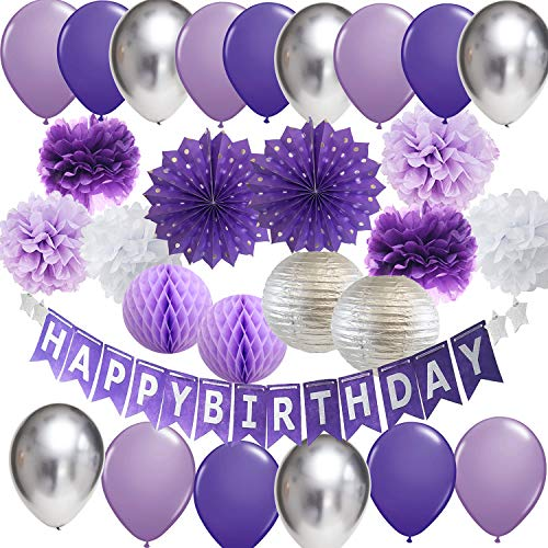 Purple And Silver Decorations (Purple Silver Birthday Party Decorations Happy Birthday Banner Purple Silver Latex Balloons Polka Dot Paper Fans for Women/Girl Purple Birthday Decorations Photo)