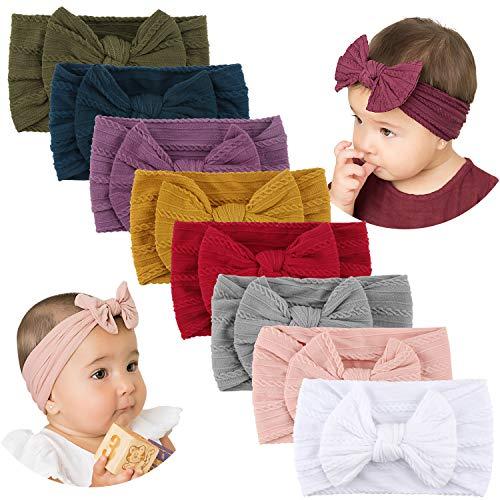 Makone Handmade Stretchy Nylon Headband with Bows Pom Pom Bun 5.5 inch Big Hair Bow Headband for Infant Baby Girls-8PCS Tie Bows (Headbands For Buns)