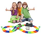 SANTON Race track set Flexible track racing car Glow in the Dark magic Track Car race track set with one Flashing LED Race Car for Kids Multicolour