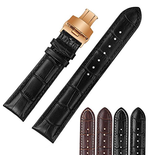 22mm Black Luxury Replacement Leather Watch Straps/Bands Crocodile Embossed with Rose Gold Deployment Buckle